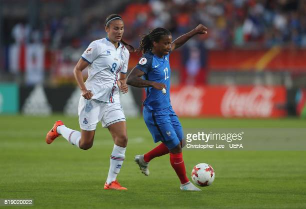 Elodie Thomis of France battles with Sigridur Gardarsdottir of Iceland uring the UEFA Women's Euro 2017 Group C match between France and Iceland at...