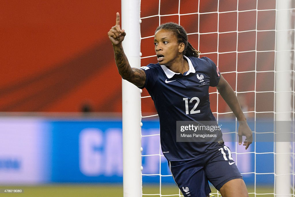 Elodie Thomis #12 of France celebrates her goal during the 2015 FIFA Women's World Cup Round of 16 match against Korea Republic at Olympic Stadium on June 21, 2015 in Montreal, Quebec, Canada.