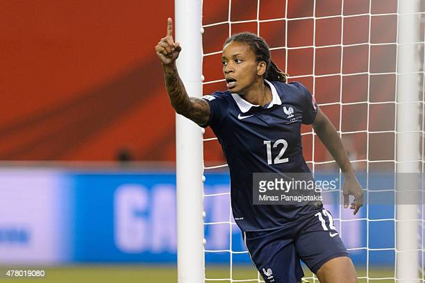 Elodie Thomis of France celebrates her goal during the 2015 FIFA Women's World Cup Round of 16 match against Korea Republic at Olympic Stadium on...