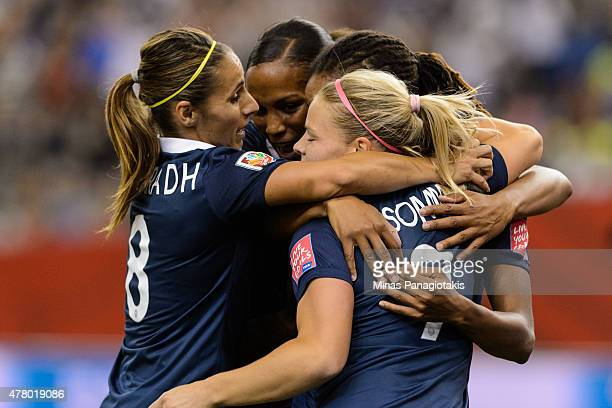 Elodie Thomis of France celebrates her goal with teammates during the 2015 FIFA Women's World Cup Round of 16 match against Korea Republic at Olympic...