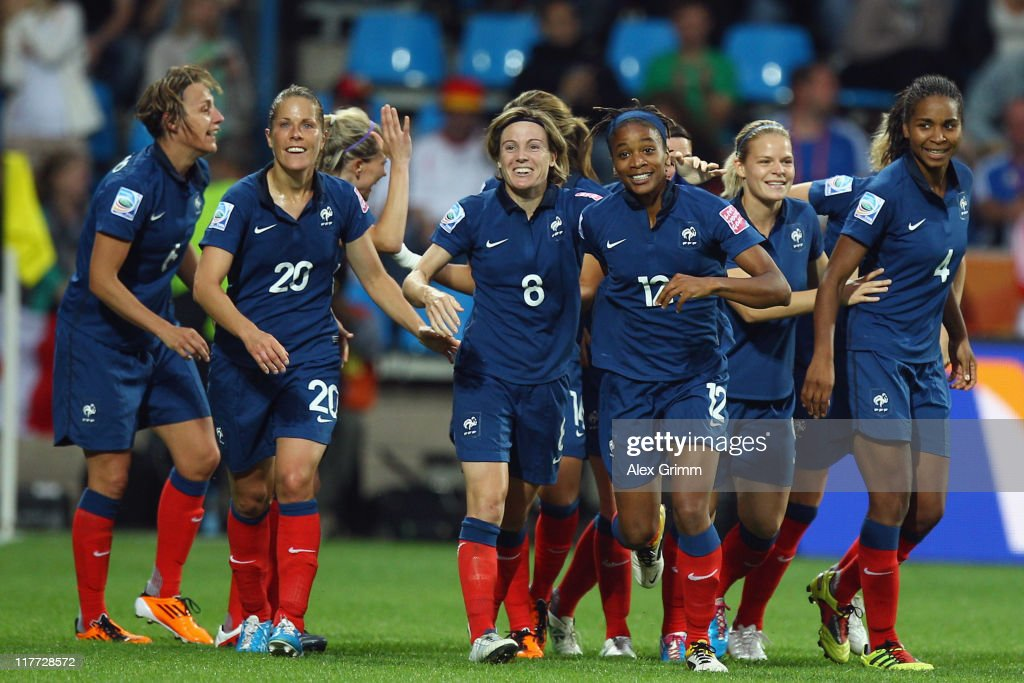<a gi-track='captionPersonalityLinkClicked' href=/galleries/search?phrase=Elodie+Thomis&family=editorial&specificpeople=813220 ng-click='$event.stopPropagation()'>Elodie Thomis</a> (3R) of France celebrates her team's fourth goal with team mates during the FIFA Women's World Cup 2011 Group A match between Canada and France at the Fifa Womens World Cup Stadium on June 30, 2011 in Bochum, Germany.