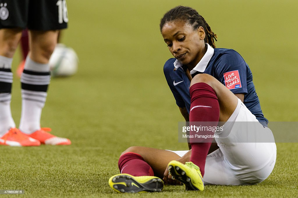 Elodie Thomis #12 of France reacts during the 2015 FIFA Women's World Cup quarter final match against Germany at Olympic Stadium on June 26, 2015 in Montreal, Quebec, Canada.
