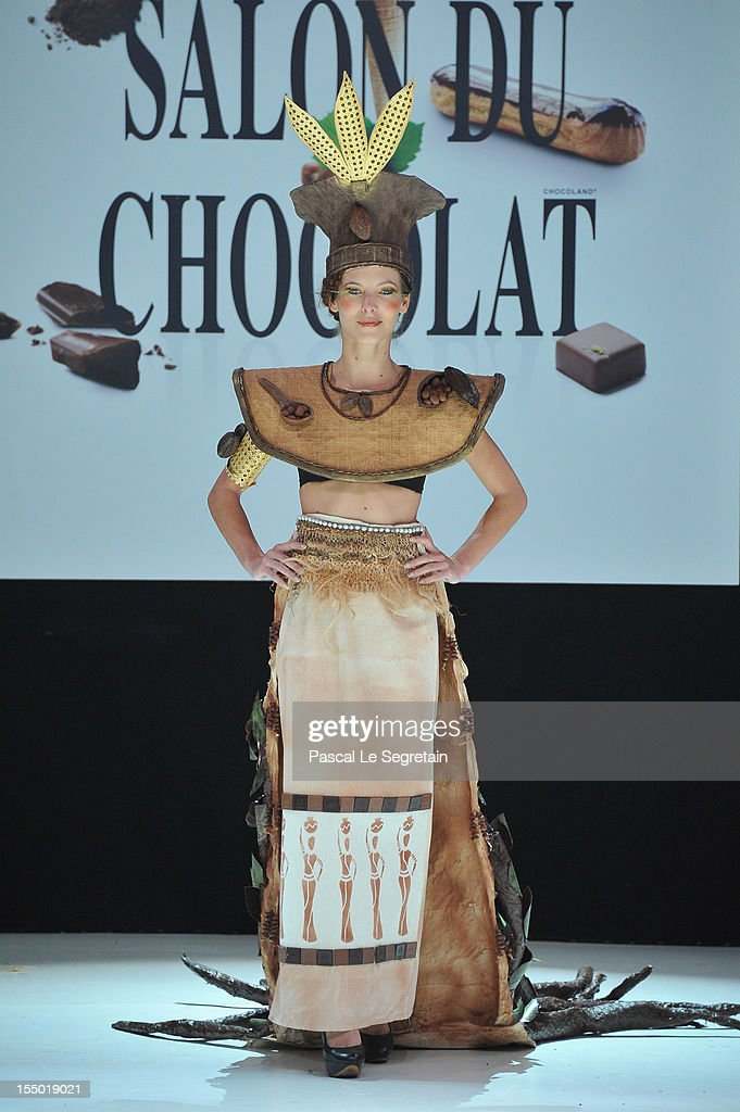 Elodie Varlet walks down the runway during the 18th Salon Du Chocolat at Parc des Expositions Porte de Versailles on October 30, 2012 in Paris, France.
