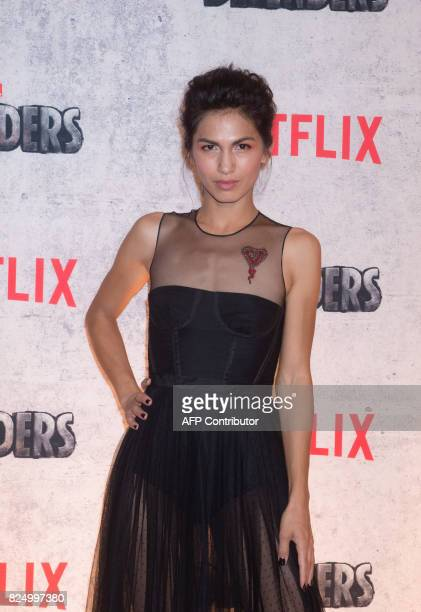 Elodie Yung arrives for the Netflix premiere of Marvel's 'The Defenders' on July 31 2017 in New York / AFP PHOTO