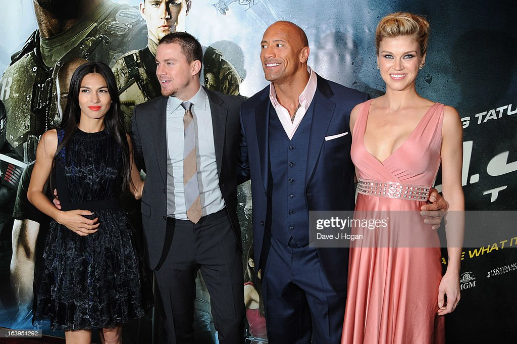 <a gi-track='captionPersonalityLinkClicked' href=/galleries/search?phrase=Elodie+Yung&family=editorial&specificpeople=7901076 ng-click='$event.stopPropagation()'>Elodie Yung</a>, <a gi-track='captionPersonalityLinkClicked' href=/galleries/search?phrase=Channing+Tatum&family=editorial&specificpeople=549548 ng-click='$event.stopPropagation()'>Channing Tatum</a>, <a gi-track='captionPersonalityLinkClicked' href=/galleries/search?phrase=Dwayne+Johnson&family=editorial&specificpeople=210704 ng-click='$event.stopPropagation()'>Dwayne Johnson</a> and <a gi-track='captionPersonalityLinkClicked' href=/galleries/search?phrase=Adrianne+Palicki&family=editorial&specificpeople=632846 ng-click='$event.stopPropagation()'>Adrianne Palicki</a> attend the UK premiere of 'G.I. Joe: Retaliation' at The Empire Leicester Square on March 18, 2013 in London, England.