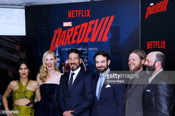 Elodie Yung Deborah Ann Woll Jon Bernthal Charlie Cox Elden Henson and Marco Ramirez attend the 'Daredevil' Season 2 Premiere at AMC Loews Lincoln...