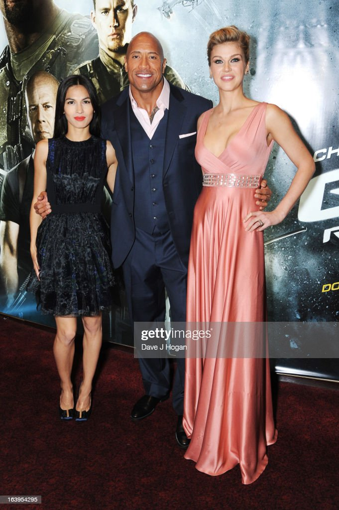 <a gi-track='captionPersonalityLinkClicked' href=/galleries/search?phrase=Elodie+Yung&family=editorial&specificpeople=7901076 ng-click='$event.stopPropagation()'>Elodie Yung</a>, <a gi-track='captionPersonalityLinkClicked' href=/galleries/search?phrase=Dwayne+Johnson&family=editorial&specificpeople=210704 ng-click='$event.stopPropagation()'>Dwayne Johnson</a> and <a gi-track='captionPersonalityLinkClicked' href=/galleries/search?phrase=Adrianne+Palicki&family=editorial&specificpeople=632846 ng-click='$event.stopPropagation()'>Adrianne Palicki</a> attend the UK premiere of 'G.I. Joe: Retaliation' at The Empire Leicester Square on March 18, 2013 in London, England.