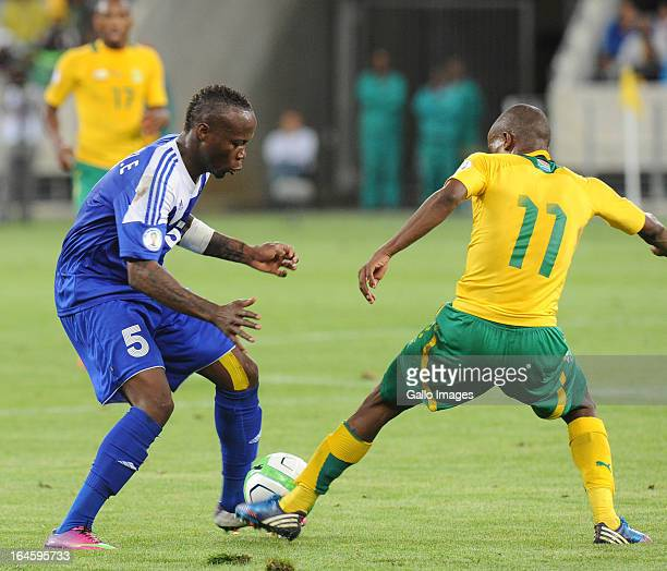 Eloge Enza Yamissi of Central African Republic and Thabo Matlaba of South Africa in action during the FIFA 2014 World Cup Qualifier match between...