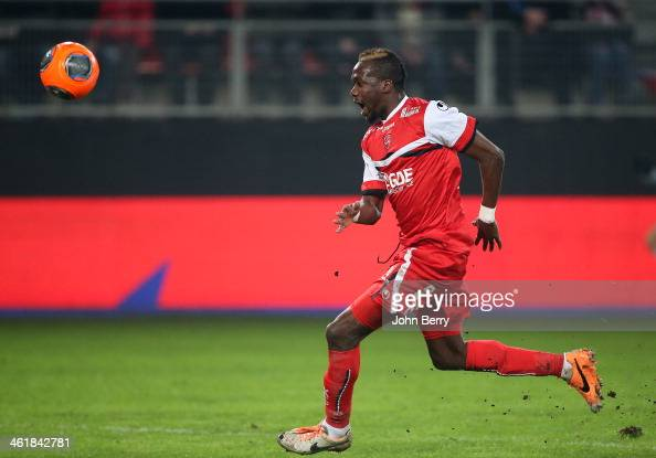 Eloge Enza Yamissi of Valenciennes in action during the french Ligue 1 match between Valenciennes FC and SC Bastia at the Stade du Hainaut on January...