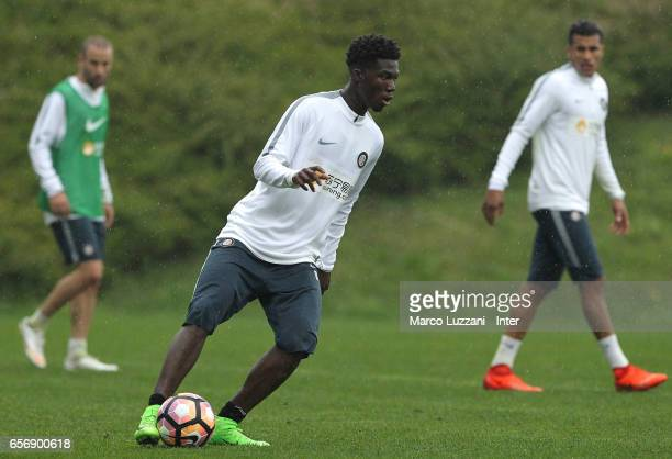 Eloge Koffi Yao of FC Internazionale in action during the FC Internazionale training session at the club's training ground Suning Training Center in...