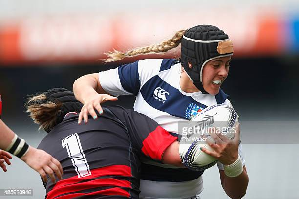 Eloise Blackwell of Auckland is tackled during the round two Women's Provincial Championship match between Auckland and Canterbury at Eden Park on...