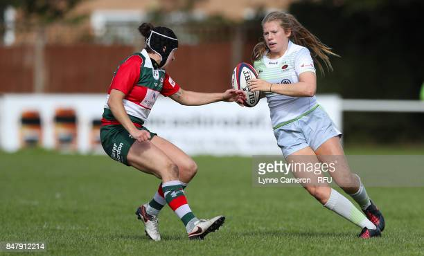 Eloise Bloomfield of Saracens Women and Vanessa Temple of Firwood Waterloo Ladies during the Tyrrells Premier 15 at The Memorial Ground on September...
