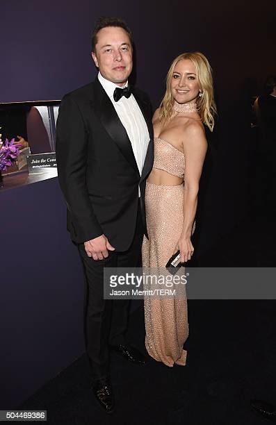 Elon Musk and actress Kate Hudson attends The 2016 InStyle and Warner Bros 73rd annual Golden Globe Awards PostParty at The Beverly Hilton Hotel on...