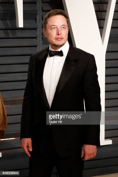 Elon Musk attends the 2017 Vanity Fair Oscar Party at Wallis Annenberg Center for the Performing Arts on February 26 2017 in Beverly Hills California