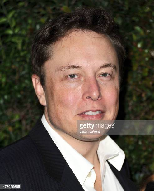 Elon Musk attends the Chanel and Charles Finch preOscar dinner at Madeo Restaurant on March 1 2014 in Los Angeles California