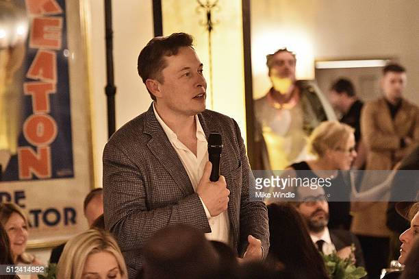 Elon Musk attends The Dinner For Equality cohosted by Patricia Arquette and Marc Benioff on February 25 2016 in Beverly Hills California
