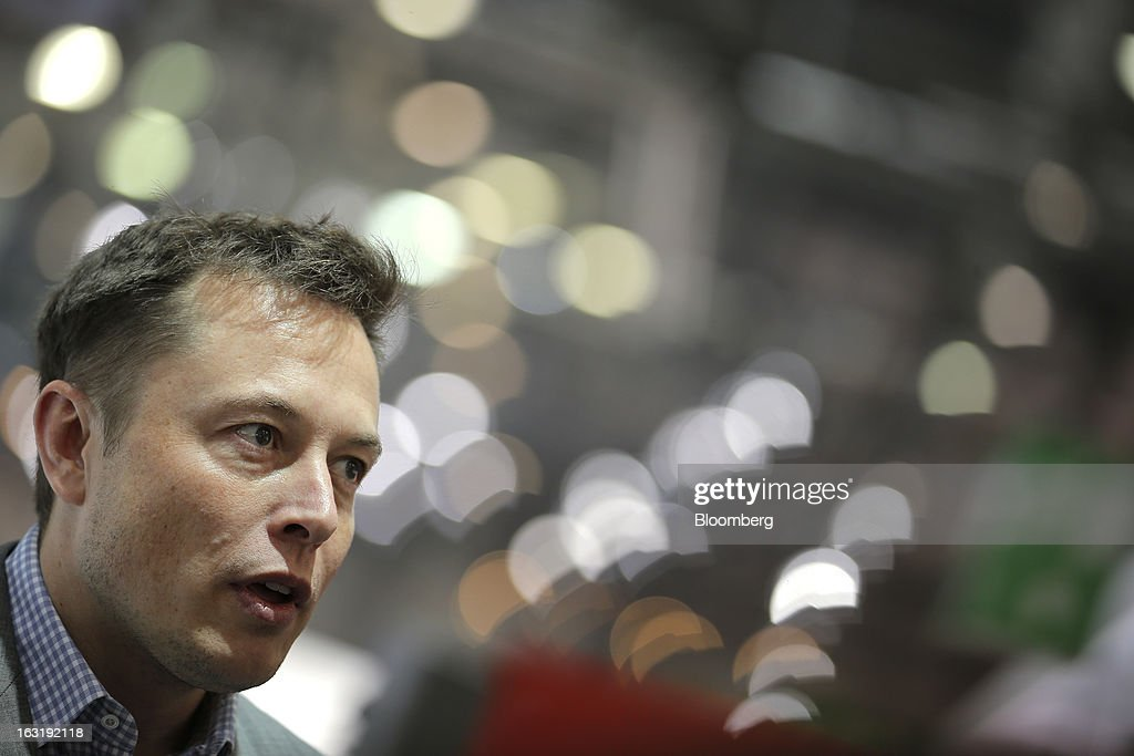 <a gi-track='captionPersonalityLinkClicked' href=/galleries/search?phrase=Elon+Musk&family=editorial&specificpeople=4448862 ng-click='$event.stopPropagation()'>Elon Musk</a>, billionaire and chief executive officer of Tesla Motors Inc., speaks to the media on the first day of the 83rd Geneva International Motor Show in Geneva, Switzerland, on Tuesday, March 5, 2013. This year's show opens to the public on Mar. 7, and is set to feature more than 100 product premiers from the world's automobile manufacturers. Photographer: Valentin Flauraud/Bloomberg via Getty Images