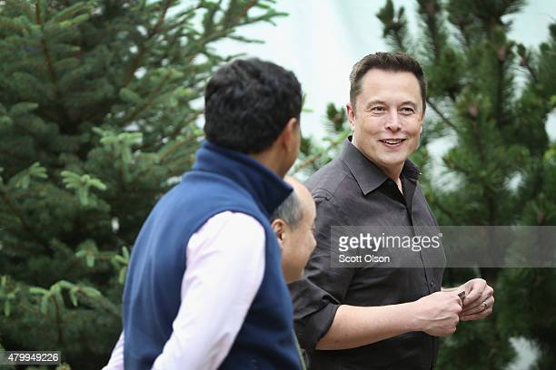 Elon Musk CEO and CTO of SpaceX CEO and product architect of Tesla Motors and chairman of SolarCity attends the Allen Company Sun Valley Conference...