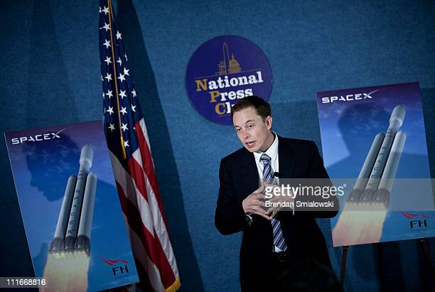 Elon Musk CEO of Space Exploration Technologies Corp speaks during a news conference at the National Press Club April 5 2011 in Washington DC Elon...