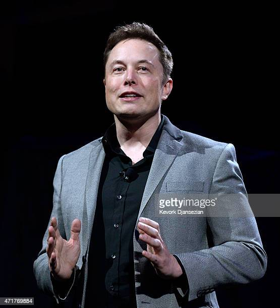 Elon Musk CEO of Tesla unveils suit of batteries for homes businesses and utilities at Tesla Design Studio April 30 2015 in Hawthorne California Musk...