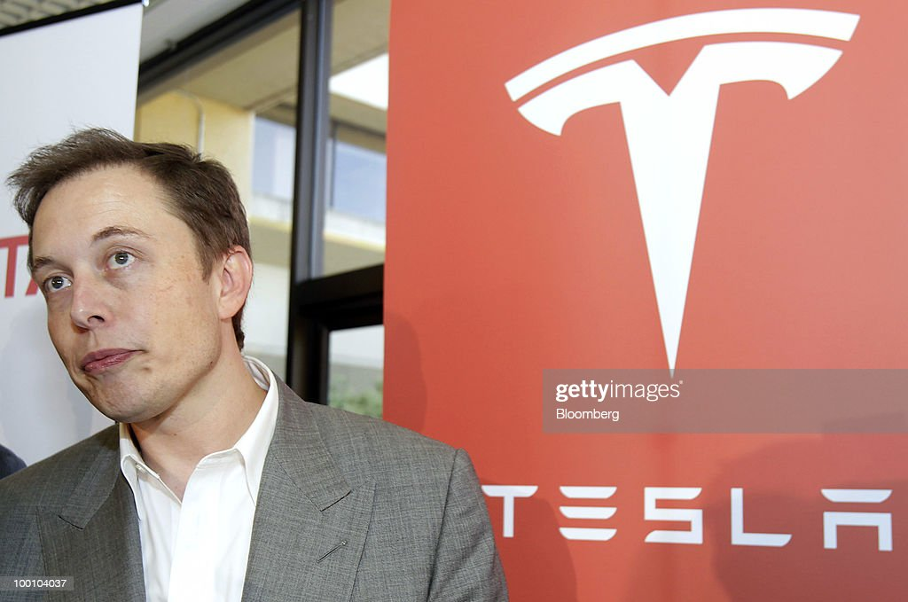 Elon Musk, chairman and chief executive officer of Tesla Motors Inc., speaks to the media during a news conference at the company's headquarters in Palo Alto, California, U.S., on Thursday, May 20, 2010. Toyota Motor Corp. will acquire a $50 million stake in California electric-car maker Tesla Motors Inc. as automakers compete to introduce less-polluting vehicles in the U.S. Photographer: Tony Avelar/Bloomberg via Getty Images