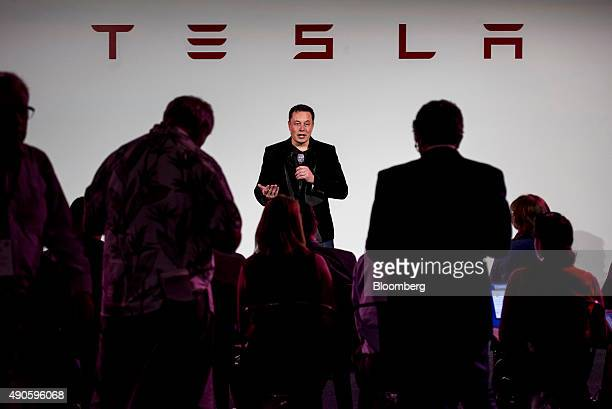 Elon Musk chairman and chief executive officer of Tesla Motors Inc speaks during a news conference prior to unveiling the Model X sport utility...