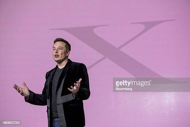 Elon Musk chairman and chief executive officer of Tesla Motors Inc unveils the Model X sport utility vehicle during an event in Fremont California US...
