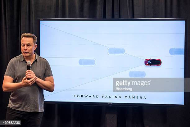 Elon Musk chairman and chief executive officer of Tesla Motors speaks during an event the company's headquarters in Palo Alto California US on...