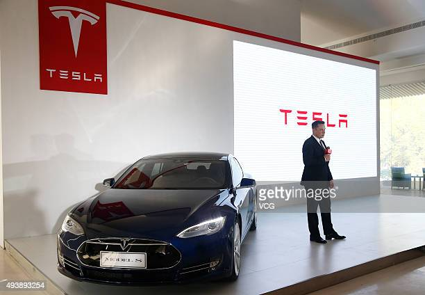 Elon Musk Chairman CEO and Product Architect of Tesla Motors addresses a press conference to declare that the Tesla Motors releases v70 System in...