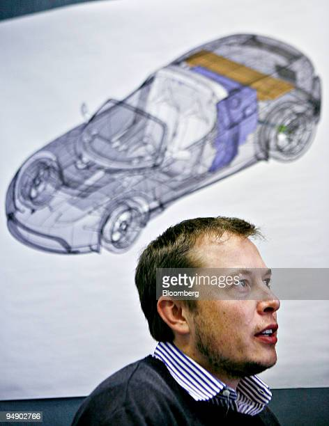 Elon Musk chairman of Tesla Motors speaks during an interview in San Carlos California US on Thursday Feb 7 2008 A diagram of the Tesla Roadster a...
