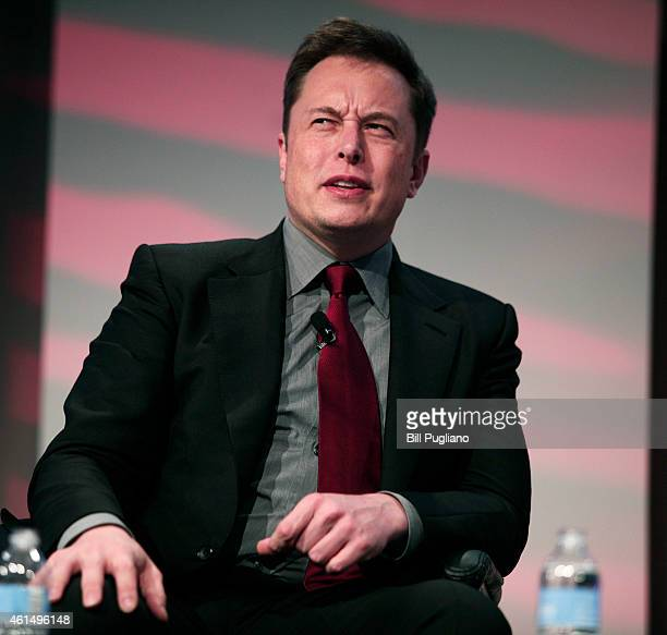 Elon Musk cofounder and CEO of Tesla Motors speaks at the 2015 Automotive News World Congress January 13 2015 in Detroit Michigan More than 5000...