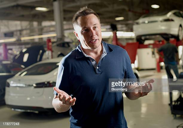 Elon Musk cofounder and chief executive officer of Tesla Motors Inc speaks during an interview at the company's assembly plant in Fremont California...