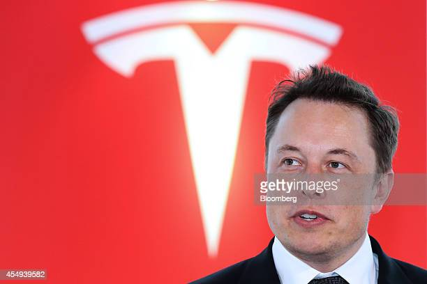 Elon Musk cofounder and chief executive officer of Tesla Motors Inc attends a key delivery ceremony of the company's premium electric sedan Model S...