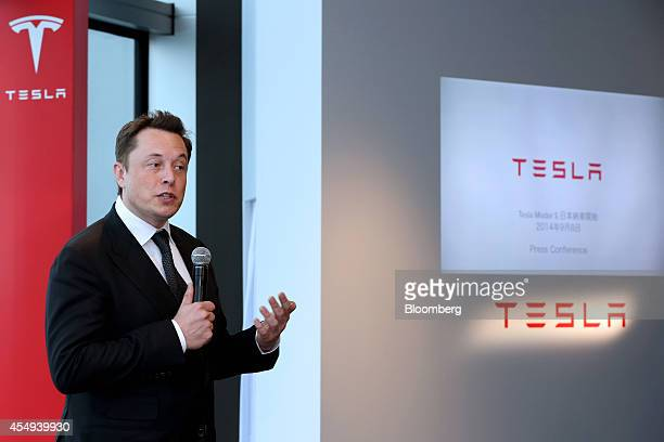 Elon Musk cofounder and chief executive officer of Tesla Motors Inc speaks during a news conference in Tokyo Japan on Monday Sept 8 2014 Tesla may...