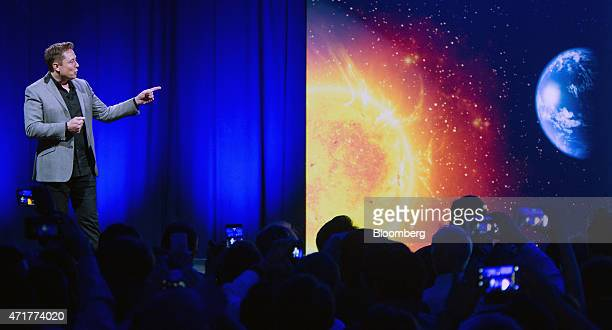 Elon Musk cofounder and chief executive officer of Tesla Motors Inc speaks during the unveiling of the company's 'Powerwall' at an event in Hawthorne...