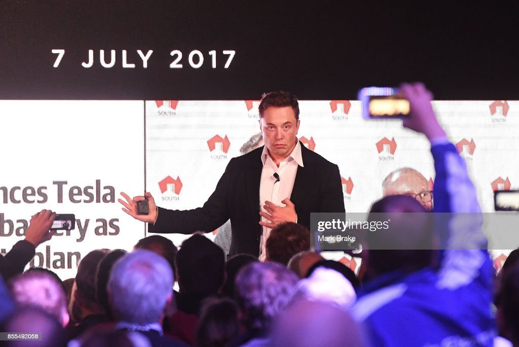 Elon Musk during his presenation at the Tesla Powerpack Launch Event at Hornsdale Wind Farm on September 29, 2017 in Adelaide, Australia. Tesla will build the world's largest lithium ion battery after coming to an agreement with the South Australian government. The Powerpack project will be capable of an output of 100 megawatts (MW) of power at a time and the huge battery will be able to store 129 megawatt hours (MWh) of energy. Tesla CEO Elon Musk has promised to build the Powerpack in 100 days, or he will deliver it for free.