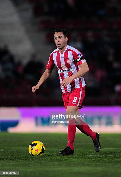 Eloy Amagat of Girona FC in action during the Spanish Segunda Division match between Girona FC and SD Eibar at the Estadia Montilivi on January 25...