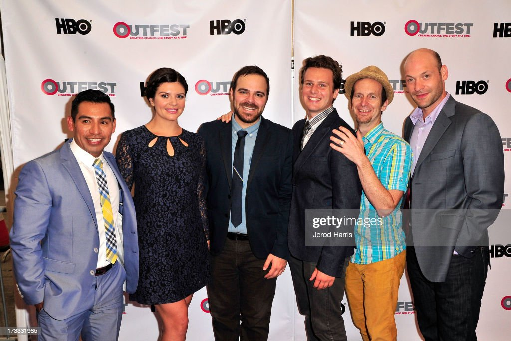 Eloy Mendez, <a gi-track='captionPersonalityLinkClicked' href=/galleries/search?phrase=Casey+Wilson&family=editorial&specificpeople=4980510 ng-click='$event.stopPropagation()'>Casey Wilson</a>, Kyle Patrick Alvarez, <a gi-track='captionPersonalityLinkClicked' href=/galleries/search?phrase=Jonathan+Groff+-+Actor&family=editorial&specificpeople=2994250 ng-click='$event.stopPropagation()'>Jonathan Groff</a>, <a gi-track='captionPersonalityLinkClicked' href=/galleries/search?phrase=Denis+O%27Hare&family=editorial&specificpeople=213830 ng-click='$event.stopPropagation()'>Denis O'Hare</a> and <a gi-track='captionPersonalityLinkClicked' href=/galleries/search?phrase=Corey+Stoll&family=editorial&specificpeople=5599501 ng-click='$event.stopPropagation()'>Corey Stoll</a> arrive at the Outfest Opening Night Gala of 'C.O.G.' at Orpheum Theatre on July 11, 2013 in Los Angeles, California.