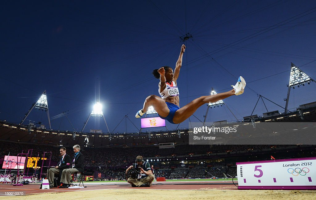 Eloyse Lesueur of France competes in the Women's Long Jump Final on Day 12 of the London 2012 Olympic Games at Olympic Stadium on August 8, 2012 in London, England.
