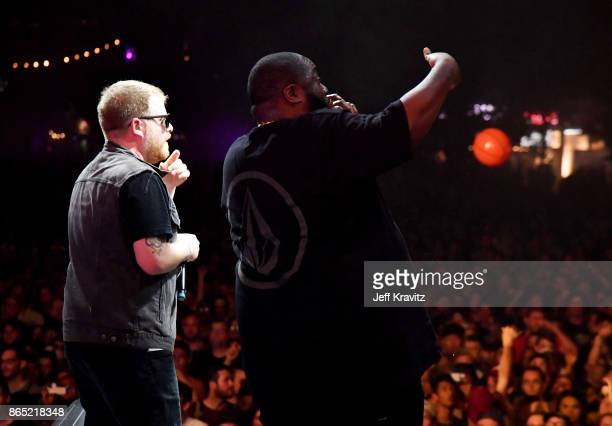 ElP and Killer Mike of Run The Jewels perform at Camelback Stage during day 3 of the 2017 Lost Lake Festival on October 22 2017 in Phoenix Arizona