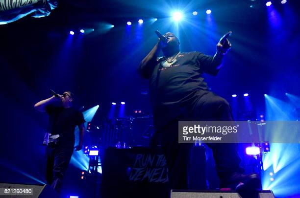 ElP and Killer Mike of Run the Jewels perform in support of their 'RTJ3' release at Bill Graham Civic Auditorium on July 22 2017 in San Francisco...