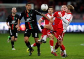 Elroy Pappot and Steve De Ridder of Utrecht battle for the ball with Victor Palsson of NEC during the Dutch Eredivisie match between FC Utrecht and...