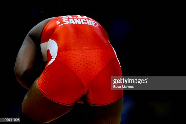 Elsa A Sanchez of Dominican Republic fights against Aline Ferreira of Brazil in the Women's Freestyle 72kg during the Pan American Games Guadalajara...