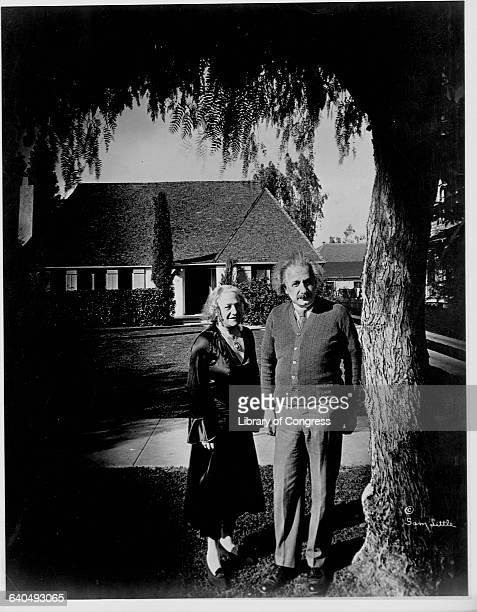 Elsa and Albert Einstein Standing by Pasadena Home