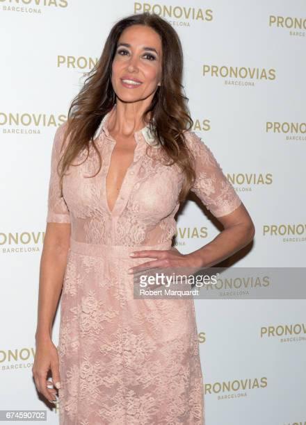 Elsa Anka attends the Pronovias Show during Barcelona Bridal Fashion Week 2017 held at the Museu Nacional d'Art de Catalunya on April 28 2017 in...