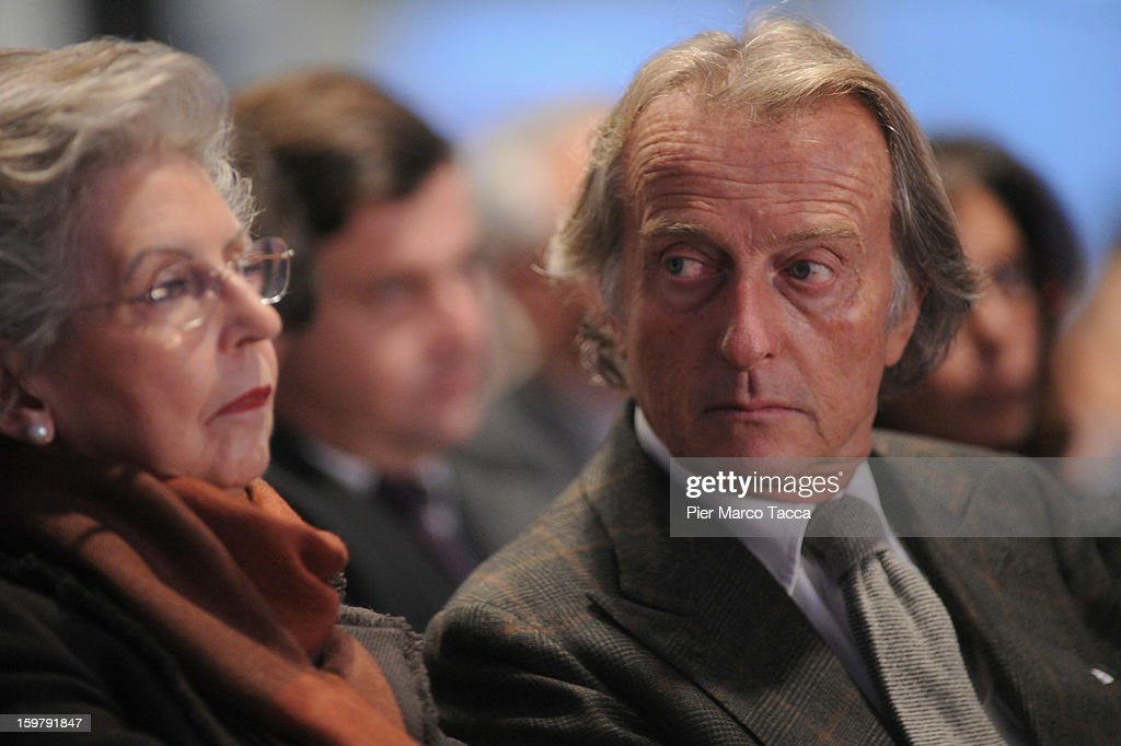 Elsa Antonioli (L), wife of Italian Prime Minister Mario Monti's, and and <a gi-track='captionPersonalityLinkClicked' href=/galleries/search?phrase=Luca+Cordero+di+Montezemolo&family=editorial&specificpeople=236070 ng-click='$event.stopPropagation()'>Luca Cordero di Montezemolo</a> attend the convention of of Monti's centrist alliance 'With Monti For Italy' (Con Monti Per L'Italia) at Kilometro Rosso on January 20, 2013 in Bergamo, Italy. Monti used the rally to unveil the list of candidates for the 'Civic Choice' (Scelta Civica) movement, a bloc that will form part of the centrist alliance running in February's parliamentary elections.
