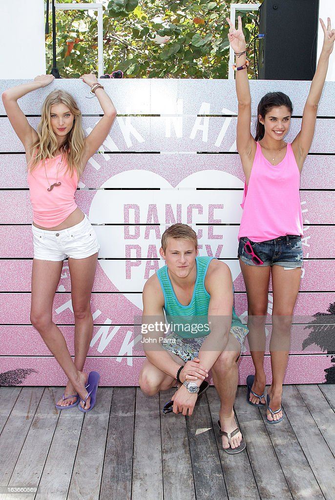 Elsa Hosk, Alexander Ludwig and Sara Sampaio attend the Victoria's Secret PINK Ultimate Spring Break Dance Party in Miami at Raleigh Hotel on March 13, 2013 in Miami Beach, Florida.