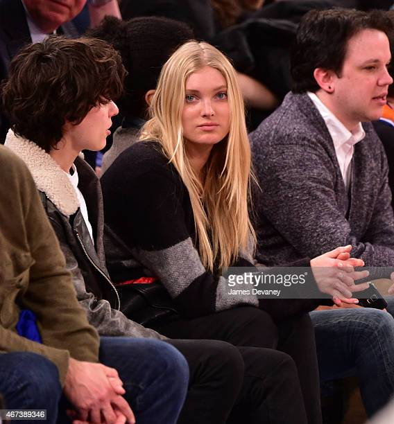 Elsa Hosk and guest attend Memphis Grizzlies vs New York Knicks game at Madison Square Garden on March 23 2015 in New York City