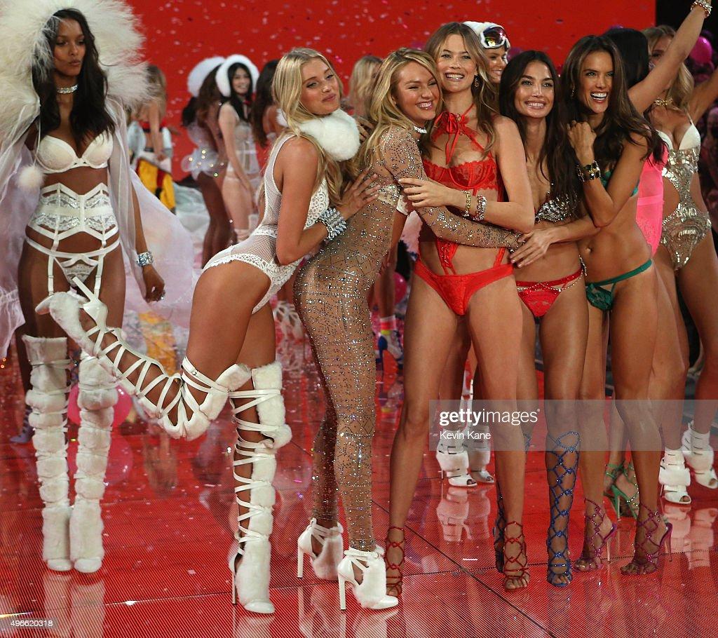 Elsa Hosk Candice Swanepoel Behati Prinsloo Adriana Lima Alessandra Ambrosio walk the runway during the 2015 Victoria's Secret Fashion Show at...