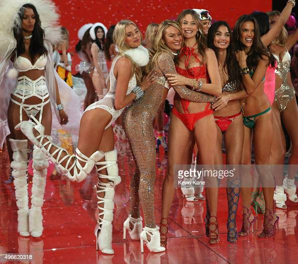 Elsa Hosk Candice Swanepoel Behati Prinsloo Adriana Lima Alessandra Ambrosio walk the runway during the 2015 Victoria's Secret Fashion Show at...
